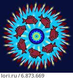 Декоративная мандала с красными рыбками. Стоковая иллюстрация, иллюстратор Astronira / Фотобанк Лори