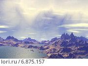 Купить «Чужая планета. Скалы и озеро», иллюстрация № 6875157 (c) Parmenov Pavel / Фотобанк Лори
