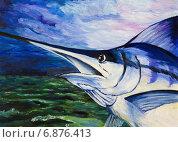 Купить «Картина. Голубой марлин выпрыгнул из воды», иллюстрация № 6876413 (c) Олег Хархан / Фотобанк Лори