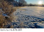 Купить «Морозный рассвет на реке Красивая Меча в Тульской области», фото № 6878081, снято 7 января 2015 г. (c) Валерий Боярский / Фотобанк Лори