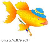 Золотая рыбка с зонтиком. Стоковая иллюстрация, иллюстратор Виталий Кучинский / Фотобанк Лори