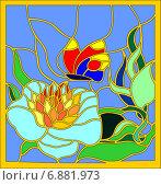 Витраж. Цветы и бабочка. Стоковая иллюстрация, иллюстратор Dmitry Polnikov / Фотобанк Лори