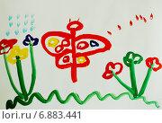 Купить «Детский рисунок гуашью: Бабочка на цветочной поляне», иллюстрация № 6883441 (c) Наталья Горкина / Фотобанк Лори