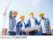 Купить «group of builders with tablet pc and blueprint», фото № 6884889, снято 21 сентября 2014 г. (c) Syda Productions / Фотобанк Лори