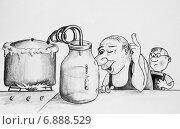 Купить «Рисунок. Сын, вот, что значит пройти огонь, воду и медные трубы», иллюстрация № 6888529 (c) Олег Хархан / Фотобанк Лори