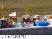 Купить «Пасхальный куличи и крашеные яйца, приготовленные для освящения», эксклюзивное фото № 6901785, снято 23 апреля 2010 г. (c) lana1501 / Фотобанк Лори