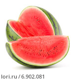 Купить «Sweet watermelon isolated on white background cutout», фото № 6902081, снято 4 июня 2014 г. (c) Natalja Stotika / Фотобанк Лори