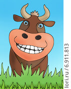Веселая корова. Стоковая иллюстрация, иллюстратор Кухаренко Ефим / Фотобанк Лори