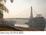 Купить «Пешеходный мост через залив Затон», фото № 6913493, снято 22 октября 2019 г. (c) Елена Корнеева / Фотобанк Лори