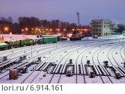 Железнодорожные пути сортировочной горки (2015 год). Редакционное фото, фотограф Александр Щепин / Фотобанк Лори