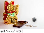 Золотая статуэтка кота, кошелёк с монетами и компас. Стоковое фото, фотограф Игорь Мухлаев / Фотобанк Лори