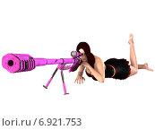 3d рендер девушки со снайперской винтовкой. Стоковая иллюстрация, иллюстратор Булат Булатов / Фотобанк Лори