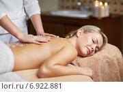 Купить «close up of woman lying and having massage in spa», фото № 6922881, снято 18 декабря 2014 г. (c) Syda Productions / Фотобанк Лори