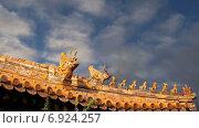 Украшения крыши в храме Юнхэгун в Пекине, Китай (2015 год). Стоковое видео, видеограф Владимир Журавлев / Фотобанк Лори