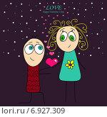 Купить «Открытка ко Дню святого Валентина - забавная парочка с сердечками на ночном фоне», иллюстрация № 6927309 (c) Анна Рыбакова / Фотобанк Лори