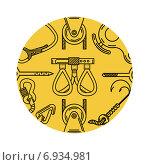 Снаряжение для восхождения в оранжевом круге. Стоковая иллюстрация, иллюстратор Oleksandr Yershov / Фотобанк Лори
