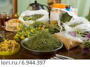 herbs at table in home. Стоковое фото, фотограф Яков Филимонов / Фотобанк Лори