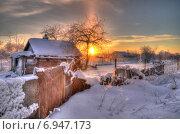Зимний рассвет в деревне. Стоковое фото, фотограф Александр Тарасенков / Фотобанк Лори