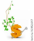 Купить «Дерево процентов рядом с лейкой», иллюстрация № 6952617 (c) Anatoly Maslennikov / Фотобанк Лори