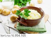 Купить «Картофельное пюре в коричневой керамической миске», фото № 6954105, снято 30 января 2015 г. (c) Надежда Мишкова / Фотобанк Лори
