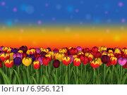 Разноцветные тюльпаны на фоне разноцветного неба. Стоковая иллюстрация, иллюстратор VahanN / Фотобанк Лори