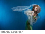 Купить «Сказочная девушка на голубом фоне», фото № 6958417, снято 1 февраля 2015 г. (c) Насонов Алексей / Фотобанк Лори