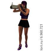 3d рендер девушки с гранатометом. Стоковая иллюстрация, иллюстратор Булат Булатов / Фотобанк Лори