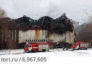 Часть здания ИНИОН уничтоженная пожаром (2015 год). Редакционное фото, фотограф Данила Васильев / Фотобанк Лори