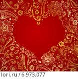 Цветочный орнамент на красном фоне и место для текста в виде сердца. Стоковая иллюстрация, иллюстратор Миронова Анастасия / Фотобанк Лори