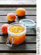 Купить «Peach jam. Summer healthy fruity dish», фото № 6977281, снято 26 марта 2019 г. (c) BE&W Photo / Фотобанк Лори