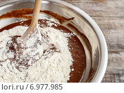 Купить «Steps of making chocolate cake : mixing ingredients. Party dessert», фото № 6977985, снято 23 мая 2019 г. (c) BE&W Photo / Фотобанк Лори