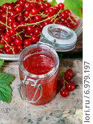 Купить «Red currant jelly in preserving glass. Summer fruits», фото № 6979197, снято 20 июля 2018 г. (c) BE&W Photo / Фотобанк Лори