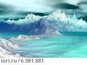 Купить «Чужая планета. Скалы и озеро», иллюстрация № 6981881 (c) Parmenov Pavel / Фотобанк Лори