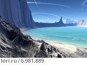 Купить «Чужая планета. Скалы и озеро», иллюстрация № 6981889 (c) Parmenov Pavel / Фотобанк Лори