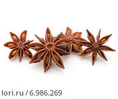 Купить «Star anise spice fruits and seeds isolated on white background closeup», фото № 6986269, снято 15 января 2015 г. (c) Natalja Stotika / Фотобанк Лори