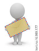 Купить «3d человек с конвертом», иллюстрация № 6989177 (c) Anatoly Maslennikov / Фотобанк Лори