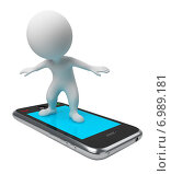 Купить «Белая фигурка человека стоит на смартфоне», иллюстрация № 6989181 (c) Anatoly Maslennikov / Фотобанк Лори