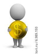 Купить «3d человечек стоит с долларом в руках», иллюстрация № 6989193 (c) Anatoly Maslennikov / Фотобанк Лори
