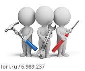 Купить «3d человечки с инструментами», иллюстрация № 6989237 (c) Anatoly Maslennikov / Фотобанк Лори