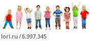 Купить «Группа маленьких детей на белом фоне», фото № 6997345, снято 23 ноября 2013 г. (c) Сергей Новиков / Фотобанк Лори