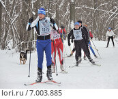 Купить «Спортсмены лыжники на лыжне в лесу», фото № 7003885, снято 8 февраля 2015 г. (c) Павел Кулинич / Фотобанк Лори
