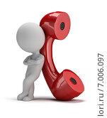 Купить «3d-человек с телефонной трубкой», иллюстрация № 7006097 (c) Anatoly Maslennikov / Фотобанк Лори