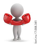 Купить «3d-человечек с красной телефонной трубкой», иллюстрация № 7008341 (c) Anatoly Maslennikov / Фотобанк Лори