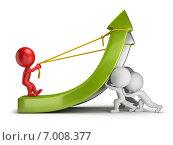 Купить «3d-человечки и зеленая стрелка. Концепция работы в команде и прибыли», иллюстрация № 7008377 (c) Anatoly Maslennikov / Фотобанк Лори