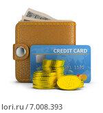 Купить «Концепция оплаты. Кошелек с купюрами, банковская карта и стопка монет на белом фоне», иллюстрация № 7008393 (c) Anatoly Maslennikov / Фотобанк Лори