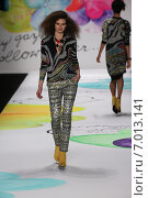 Купить «NEW YORK, NY - FEBRUARY 12: A model walks the runway at the Desigual fashion show during Mercedes-Benz Fashion Week Fall 2015 at The Theatre at Lincoln Center on February 12, 2015 in New York City.», фото № 7013141, снято 12 февраля 2015 г. (c) Anton Oparin / Фотобанк Лори