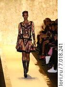 Купить «NEW YORK, NY - FEBRUARY 14: A model walks the runway at Herve Leger by Max Azria fashion show during Mercedes-Benz Fashion Week Fall 2015 at Lincoln Center on February 14, 2015 in New York City», фото № 7018241, снято 14 февраля 2015 г. (c) Anton Oparin / Фотобанк Лори