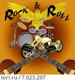 Барабанная  установка, гитары и мотоцикл на градиентном фоне. Стоковая иллюстрация, иллюстратор Yevgen Kachurin / Фотобанк Лори
