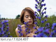 Красивая девушка в полевых цветах. Стоковое фото, фотограф Ильина Анна / Фотобанк Лори