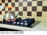 Купить «Чайник греется на современной газовой плите», фото № 7035085, снято 11 января 2014 г. (c) Арестов Андрей Павлович / Фотобанк Лори